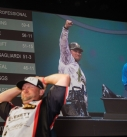 Justin Atkins raises a fist during final weigh-in Sports Photography